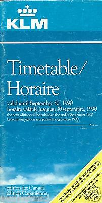 Airline Timetable - KLM - to 30/09/90 - Canada edition