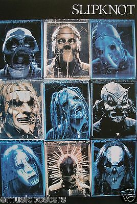 "SLIPKNOT ""3 ROWS, 3 COLUMNS OF BAND HEAD SHOTS"" ASIAN POSTER - Heavy Metal Music"