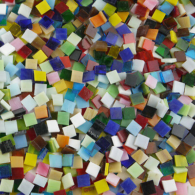 200g/Bag Mixed Color Tumbled Stained 1cm Glass Mosaic Tiles Home Decoration