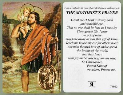 Saint Christopher The Motorists Prayer Laminated Prayer Card With Foil Medal