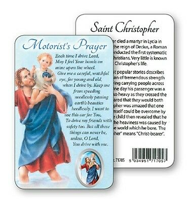 Saint Christopher Motorists Prayer Laminated Card With Resin Drop Picture