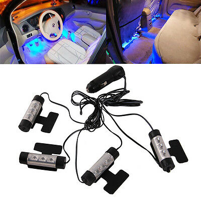 4x 3 LED Car Charge Interior Accessories Floor Decorative Atmosphere Lamp Light