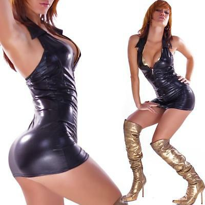 Sexy Minikleid Wetlook Gogo Schwarz 34/36/38 #mk089