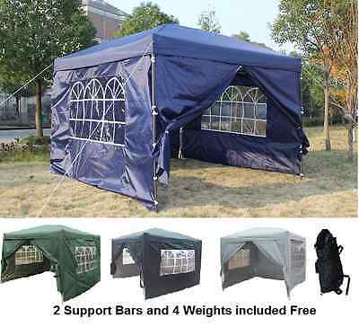 Pop Up Heavy Duty Garden Gazebo 3x3m 2x2m Wedding Tent Marquee Canopy With Bars
