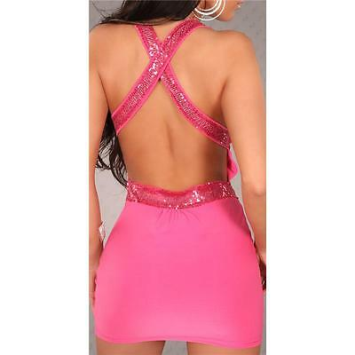 Sexy Minikleid Party-Kleid Mit Pailletten Clubwear Pink 34/36/38 #mk1424