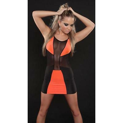 Sexy Party Minikleid Mit Chiffon Gogo Clubwear Schwarz/orange 34/36/38 #mk1797