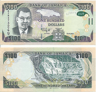 Jamaica - 100 Dollars 2014 UNC HYBRID - Pick New
