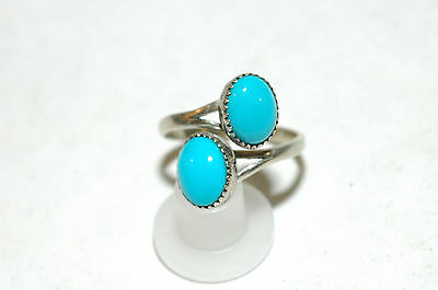 Ladies two stone turquoise bypass wrap ring Sterling