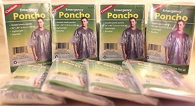 """8 Emergency Poncho, Hooded, 50""""x 80"""" Lightweight, Reusable, One Size Fits All!!"""
