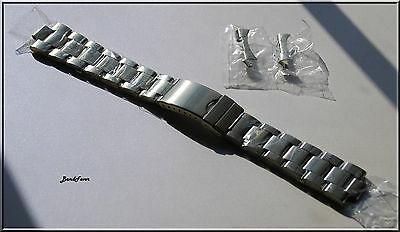 SILVER Stainless Steel Solid Links Watch Band Bracelet Curved End 19 20 21 22 mm
