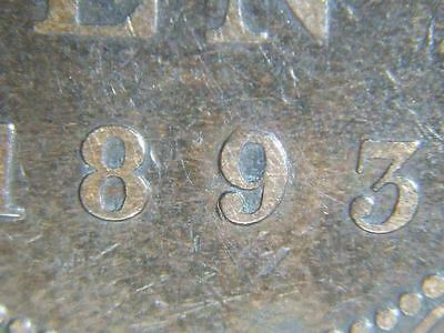 """1893 """"Re-Punched 9"""" Canadian Large Penny Queen Victoria Old Bronze Coin Lot 9A"""