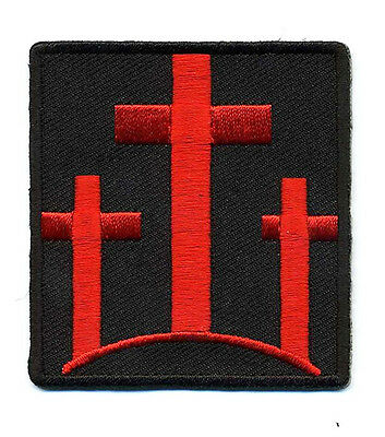 THREE CROSSES Christian Embroidered  RED CROSSES MORALE HOOK LOOP PATCH