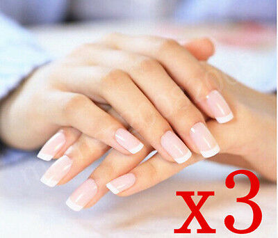 SALES! 3xFrench Style Nail Tips with glue/Lady Designer Acrylic Fake Nails Set-D