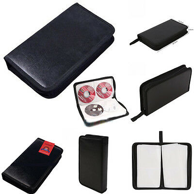 80 Disc DVD CD VCD Wallet Holder Carry Bag Album For Media Storage Faux Leather