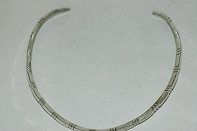 Nice Ladies Taxco Incised Choker Collar Necklace Sterling Silver 39g