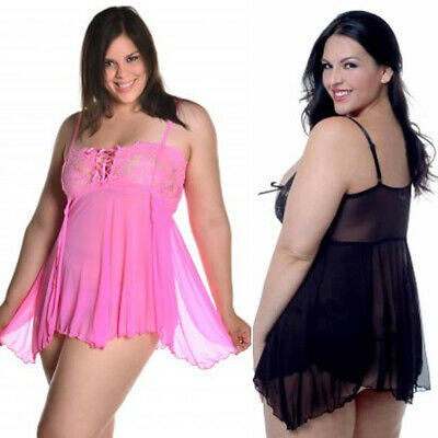 59ff9241529 Plus Size Lingerie Sizes 1X thru 6X Black or Pink Lace Up Front Babydoll  VX5174X