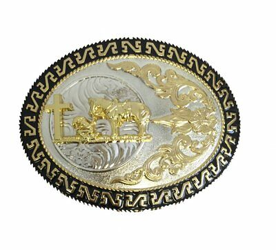 Western Belt Buckle Oval Praying Cowboy Cross Floral Sterling Silver Plated Mens