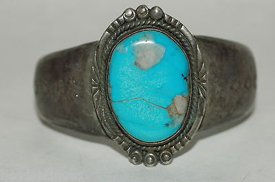 Vintage OLD PAWN turquoise cuff bracelet Sterling