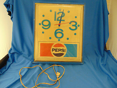 Vintage Pepsi lighted clock for parts soda wall hang decor used sign electric