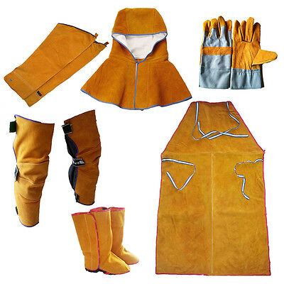 Welding Heat Insulation Protect Leather Aprons Gloves Shoe Cover Leggings Cloaks