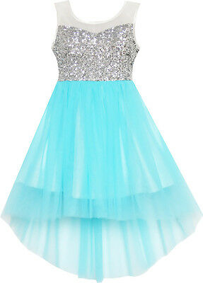 Flower Girl Dress Sequin Mesh Party Wedding Princess Tulle Blue Size 7-14 Formal