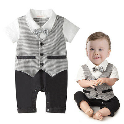 Summer Gentleman Baby Boys Kids Infant Clothes Romper Bodysuit Playsuit Outfits