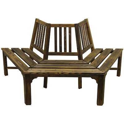 Curve Bench Semi Circle Burntwood Outdoor Garden Wooden Seat   ZLY-1005009T