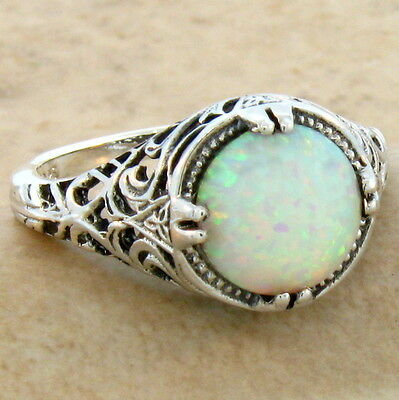 White Lab Opal Antique Filigree Design 925 Sterling Silver Ring Sz 6.75, #642