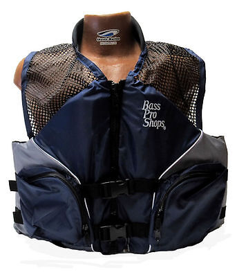 Bass Pro Shops Mesh Fishing Life Vest Jacket PFD for Adults Blue 2XL