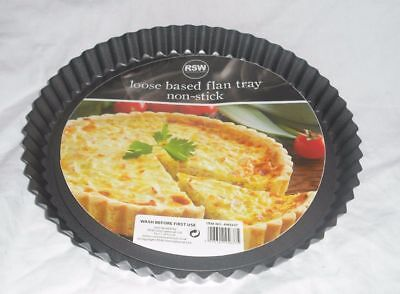 NEW LOOSE BASED FLUTED EDGE NON-STICK FLAN TRAY TART QUICHE BAKING TIN 22cm RSW