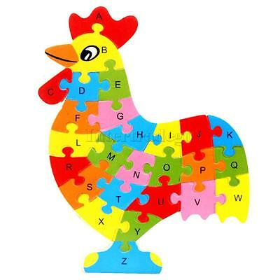 Wooden ABC Alphabet Jigsaw Rooster Animal Puzzle Child Educational Learning