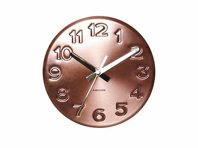 Karlsson Bold Engraved Numbers Wall Clock Steel Copper Modern Designer Clock