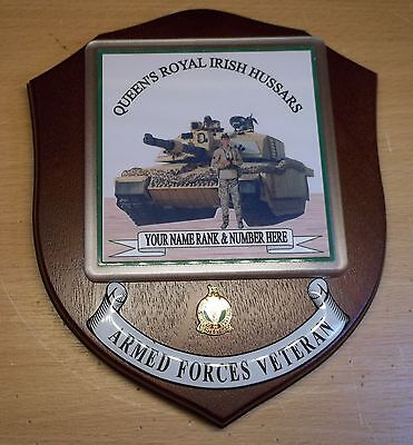 Queen's Royal Irisg Hussars Veteran Wall Plaque with your name, rank and number.