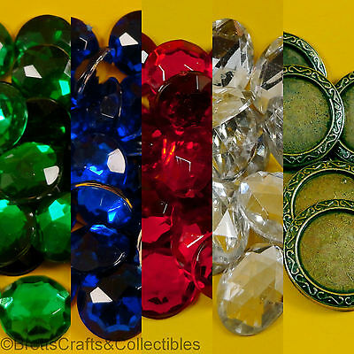Faceted Flat Back Acrylic Rhinestones and Metal Mounts - 13mm/15mm Round Oval