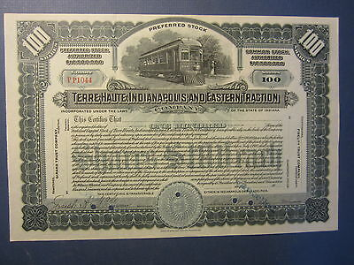 c.1910's Terre Haute Indianapolis Eastern Traction Stock Certificate - Railroad