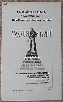 "WALKING TALL Tough Cop Buford Pusser RARE FELTON PERRY ""BLACK AD CAMPAIGN"" Suppl"