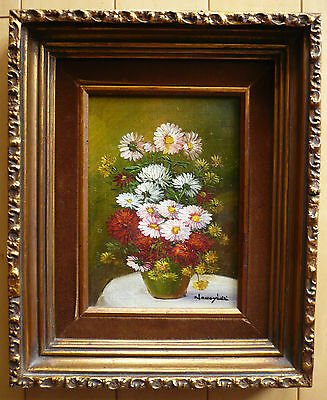 Nancy Lee Listed Floral Flowers Oil Modern Colorism Vintage Mid Century Realism