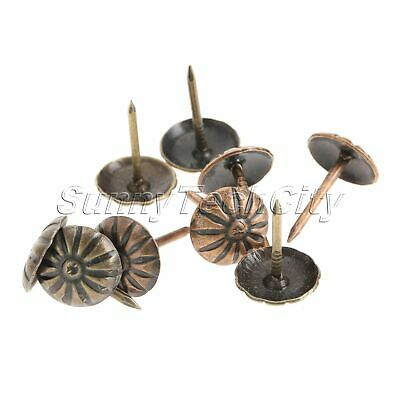 100Pcs Vintage Bronze Upholstery Nails Jewelry Box Tacks Sofa Studs Decoration