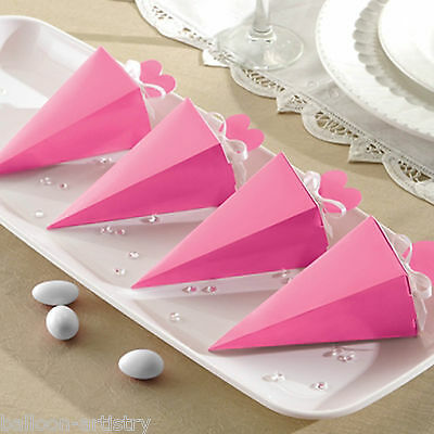 50 Elegant BRIGHT PINK Wedding Engagement Party Gift Favour Pyramid Cone Boxes