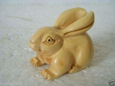 Chinese Hand Carved boxwood netsuke rabbit