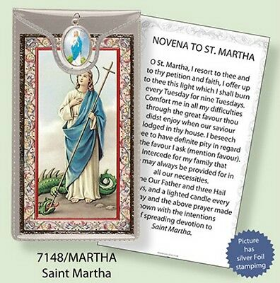 Saint Martha Prayer Card With Colour Medal - Statues Candles Pictures Listed