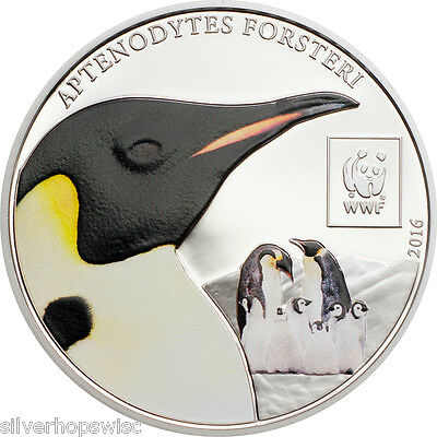 2016 100 Shilling TANZANIA Penguin Silver Plated Coin - World Wildlife Fund