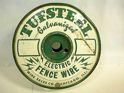 Vintage Tufsteel Galvanized Electric Fence Wire Spool Chicago Ill Wire Sales Co