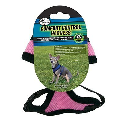 Four Paws Comfort Control Harness Pink Extra Small. Free Shipping In The Usa