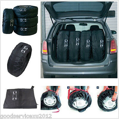 4 X Seasonal Black Car Wheel Tires Carry Storage Bags Protector Cover Accessory