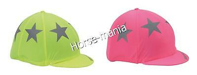 Shires Equi-Flector Riding Hat Silk Cover Reflective Stars Yellow/pink (852)