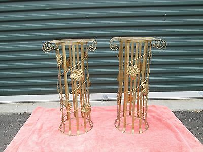 Pair Of Decorative Toleware Plant Stands / Pedastals Or Cane Umbrella Stands