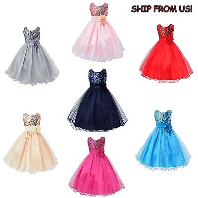 Flower Girl Dress Formal Princess Pageant Wedding Birthday Party Bridesmaid NEW
