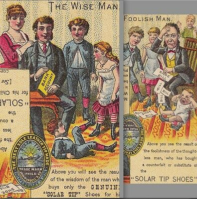 Wise Man vs Foolish Mundell Solar Tip Shoe novelty boot 1885 © Advertising Card