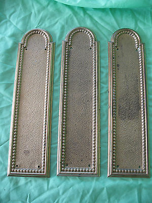Set of 3 old reclaim rococo style solid brass door handle push plates
